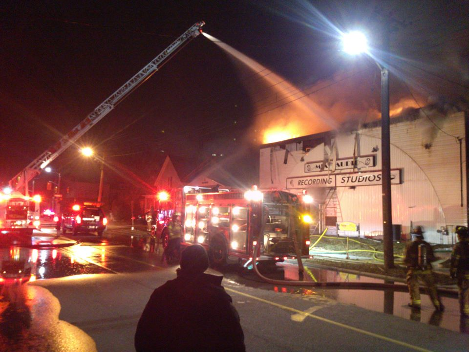 Fire at Playfair Music Complex on Mitton St. April 6, 2015 Photo courtesy of Brian White