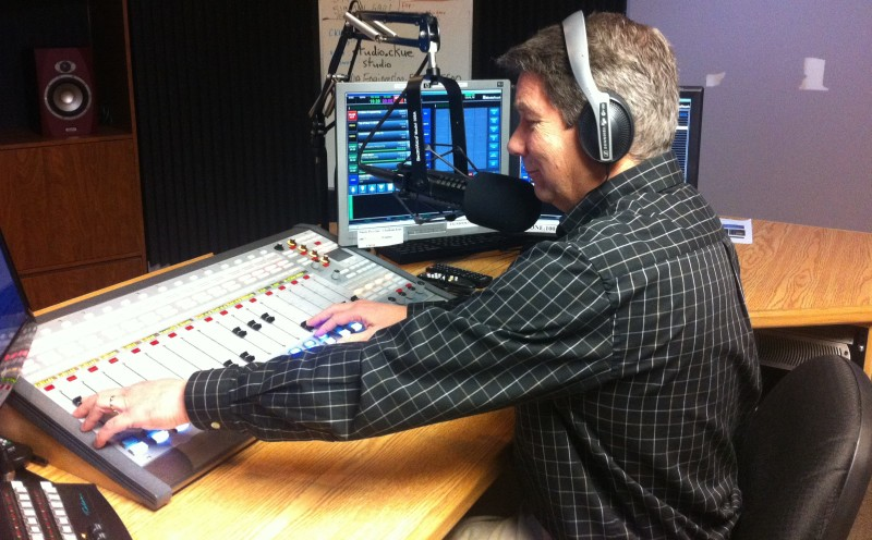 Blackburn Radio's George Brooks in studio on April 9, 2015. (Photo by Mike James.)