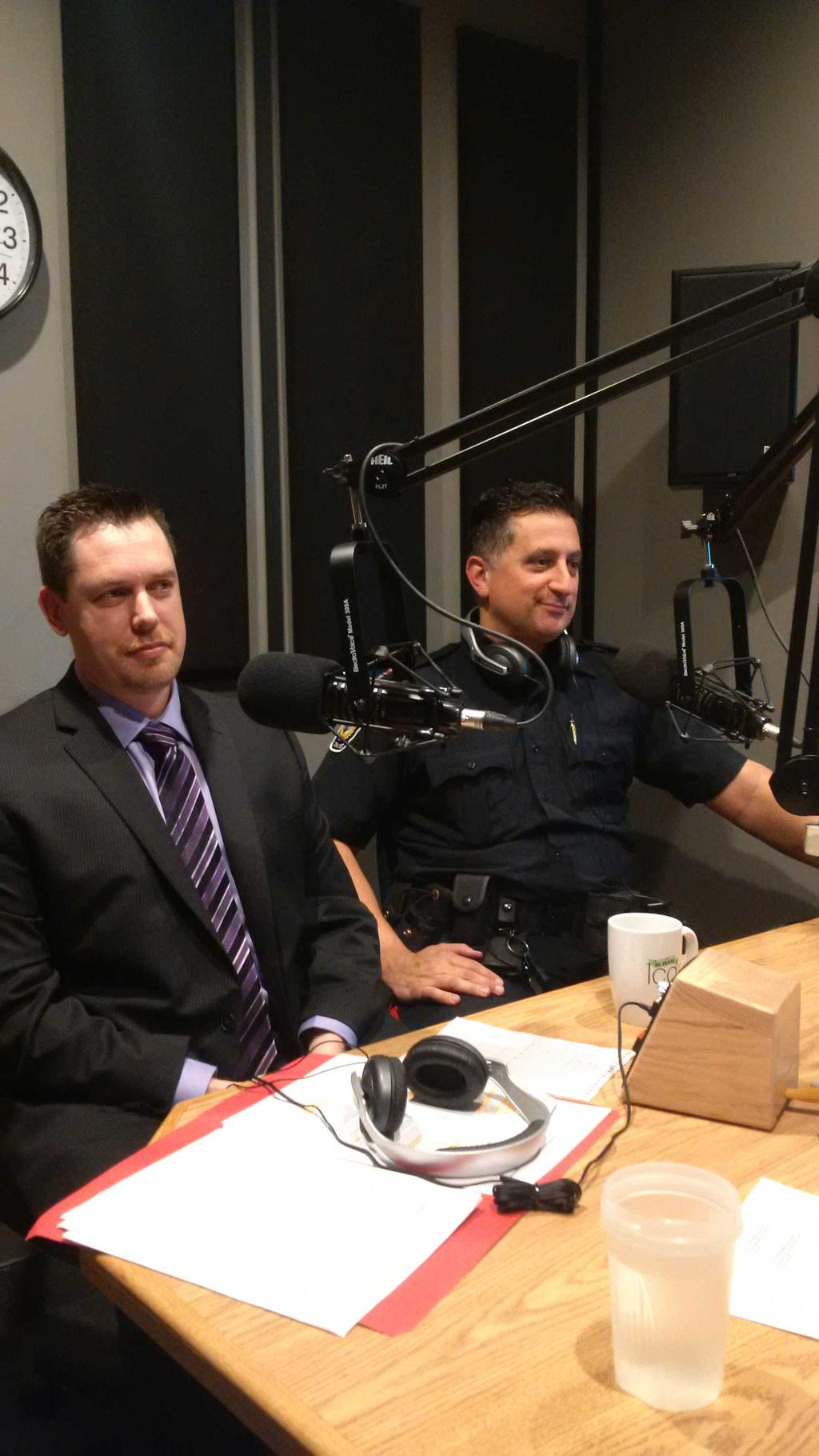 Sarnia Police Detective Constable Mike Howell (L) in studio on The Talk Show (Blackburnnews.com Photo)