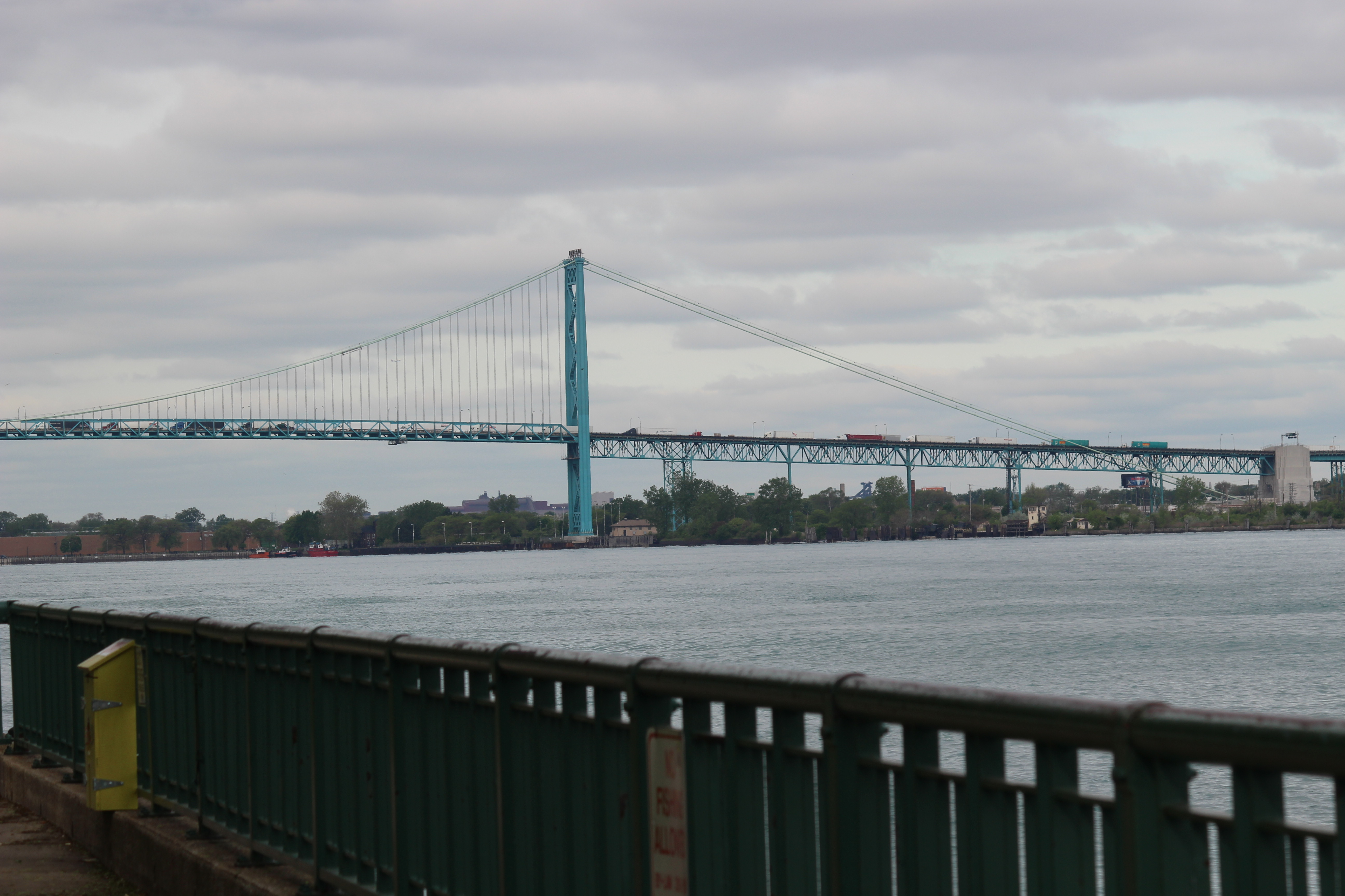 A view of the Ambassador Bridge from Windsor's riverfront May 20, 2015. (Photo by Adelle Loiselle)