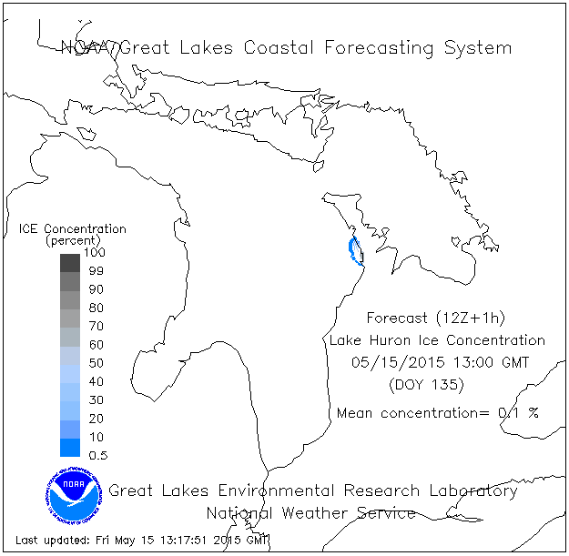 NOAA's Ice Concentration Graph for Lake Huron for May 16th, 2015.