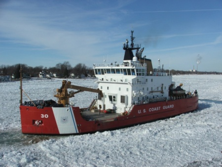 The U.S. Coast Guard cutter Mackinaw breaks ice along the St. Clair River in the winter of 2015. (Photo courtesy U.S. Coast Guard)