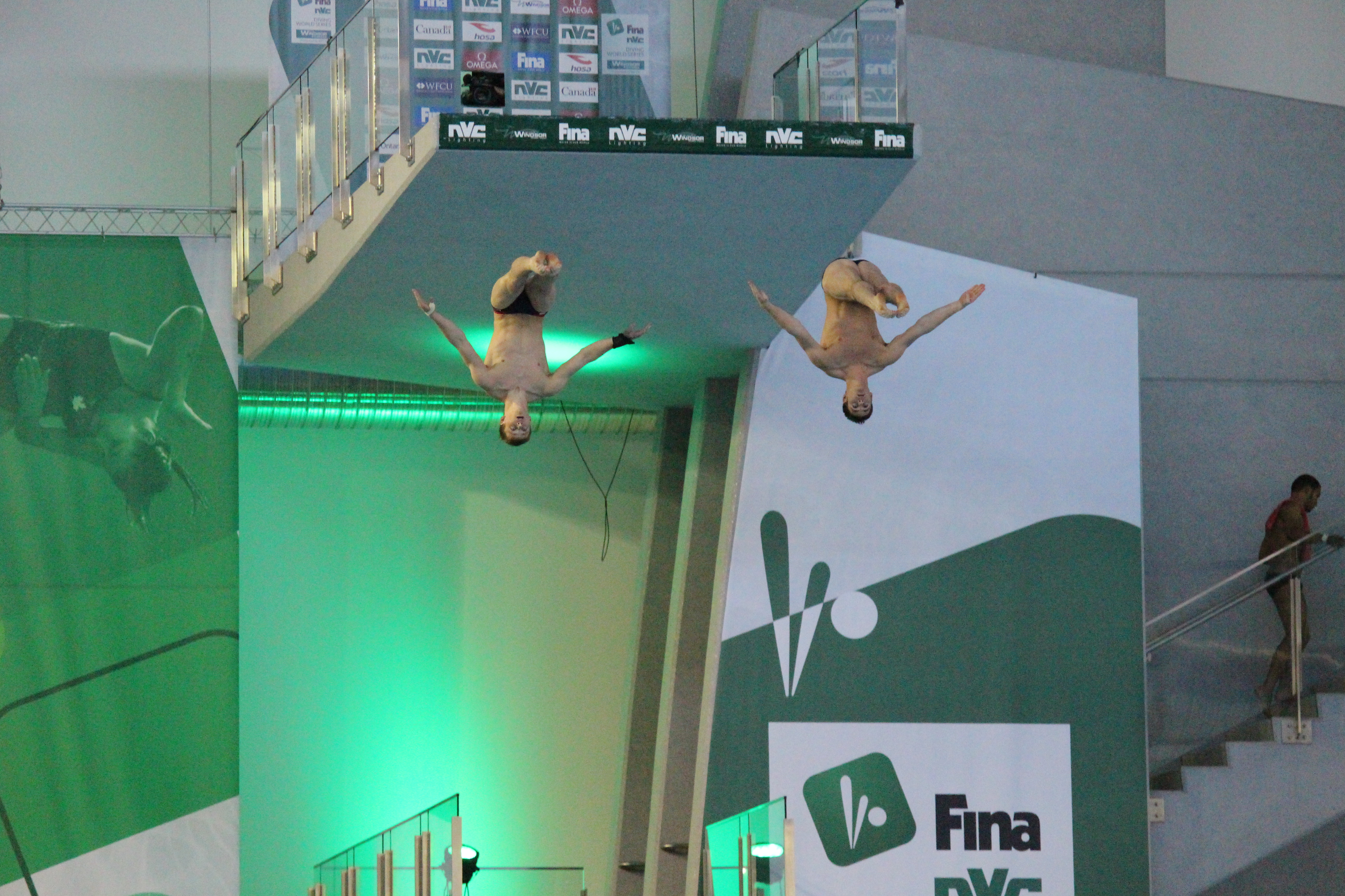 Divers compete in the FINA Diving World Series 2015 in Windsor, May 22, 2015. (Photo by Jason Viau)