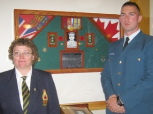 Mount Forest Legion Branch President Kathleen MacRobbie and Aviator Chris Lalonde (Photo by Campbell Cork)