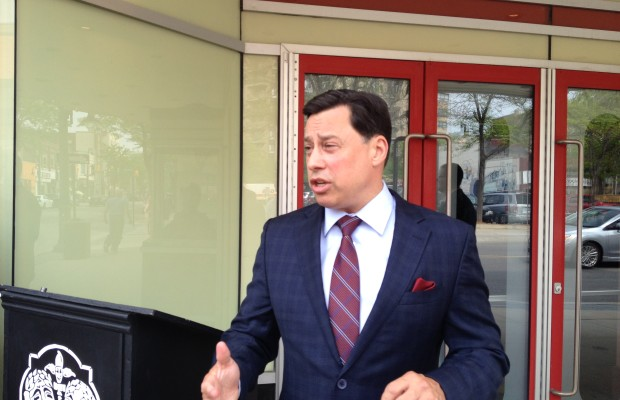 Economic Development and Infrastructure Minister Brad Duguid makes announcement outside Imperial Theatre for Ontario accessibility certification program. May 29, 2015 (BlackburnNews.com Photo by Briana Carnegie).