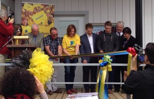 Members of the Cameron Family along with Brockton Mayor David Inglis and Aviva  representatives cut the ribbon on the Wes For Youth Resource Centre. (by Ryan Brandt)