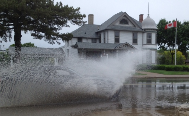 There was heavy ponding on Sarnia streets after a storm May 30, 2015 (BlackburnNews.com photo by Dave Dentinger)
