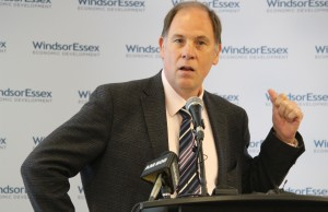 Chief Medical Officer at Henry Ford Innovations and CEO of Sentio Stephen Bartol speaks during the launch of Windsor's Life Sciences Hub at Hotel-Dieu Grace Healthcare, May 22, 2015. (Photo by Mike Vlasveld)