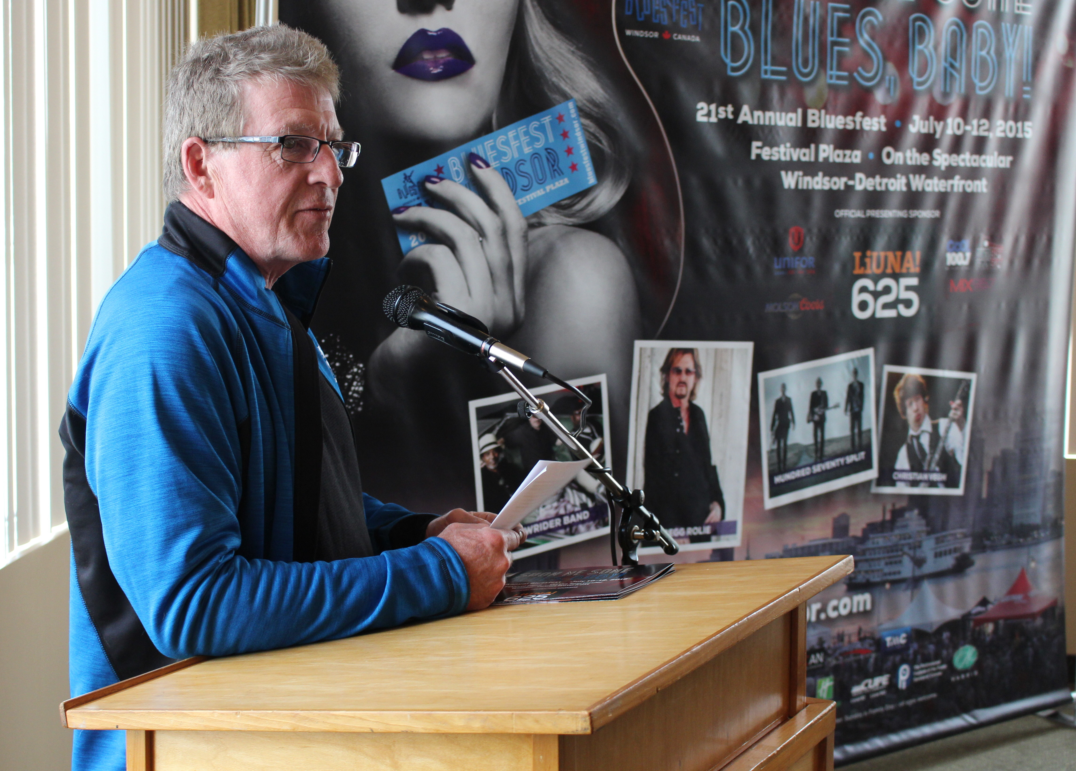 Producer for Bluesfest Windsor Ted Boomer talks about this year's line-up, May 6, 2015. (Photo by Mike Vlasveld)