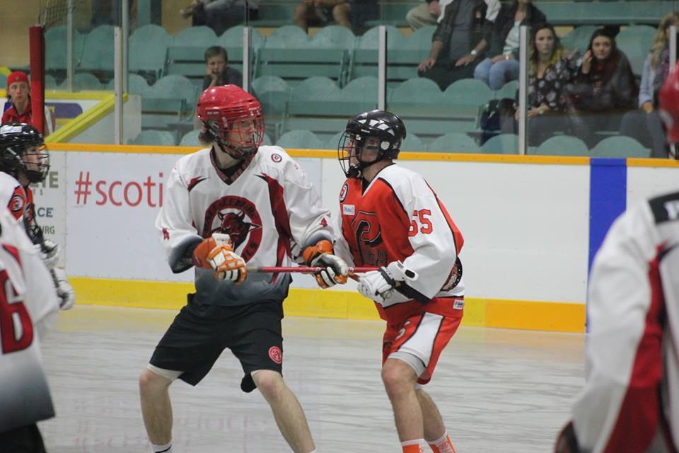 The Wallaceburg Red Devils take on the Point Edward Pacers in Jr. B lacrosse action. (Photo courtesy of Jocelyn McLaughlin)