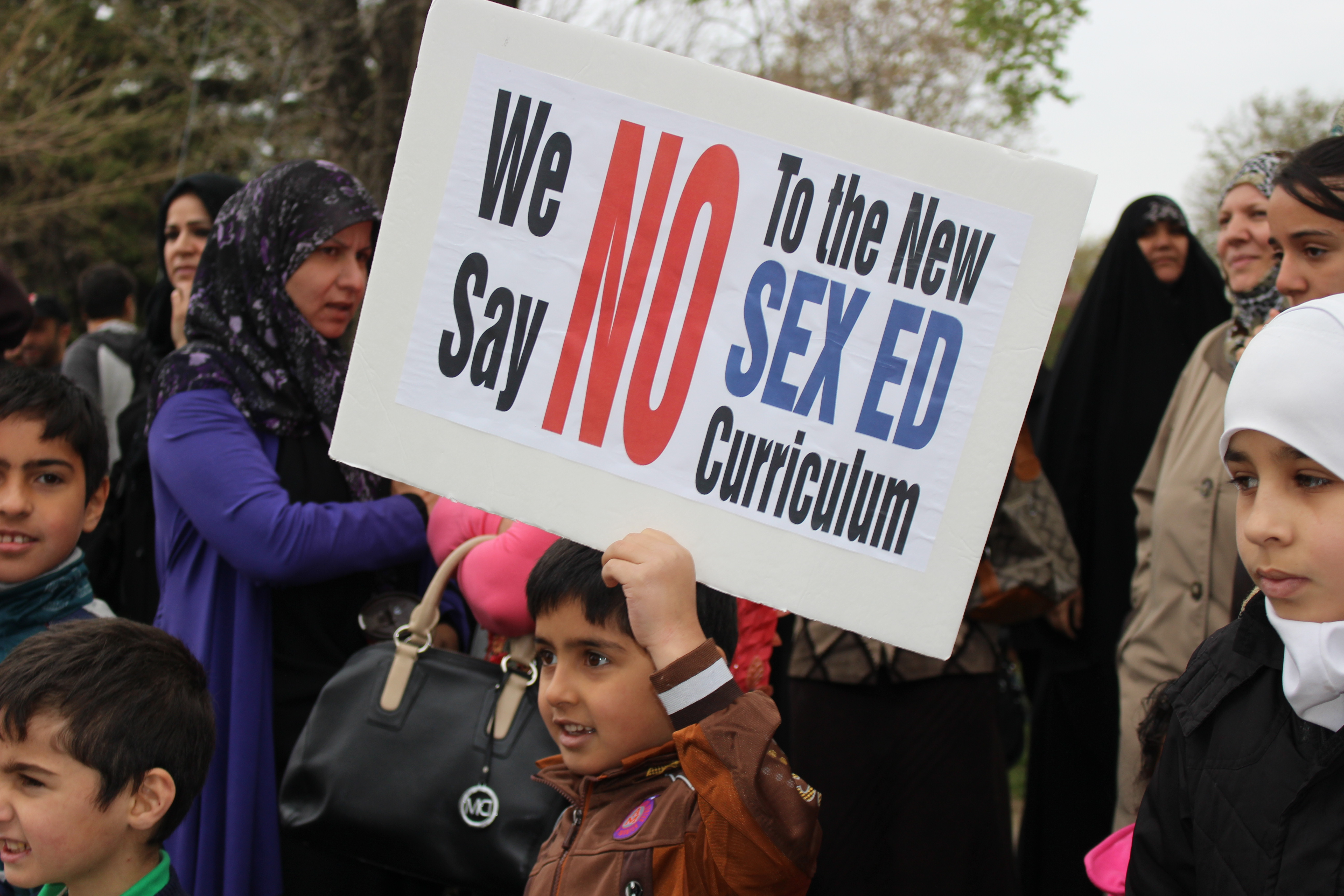 Protesters demonstrate against Ontario's new sex education curriculum outside Northwood Public School May 5, 2015. (Photo by Adelle Loiselle)