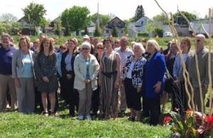 Minister Dr. Helena Jaczek, MP Deb Matthews and members of the St. Thomas community at the site of the new women's shelter on Princess Ave. May 21, 2015.