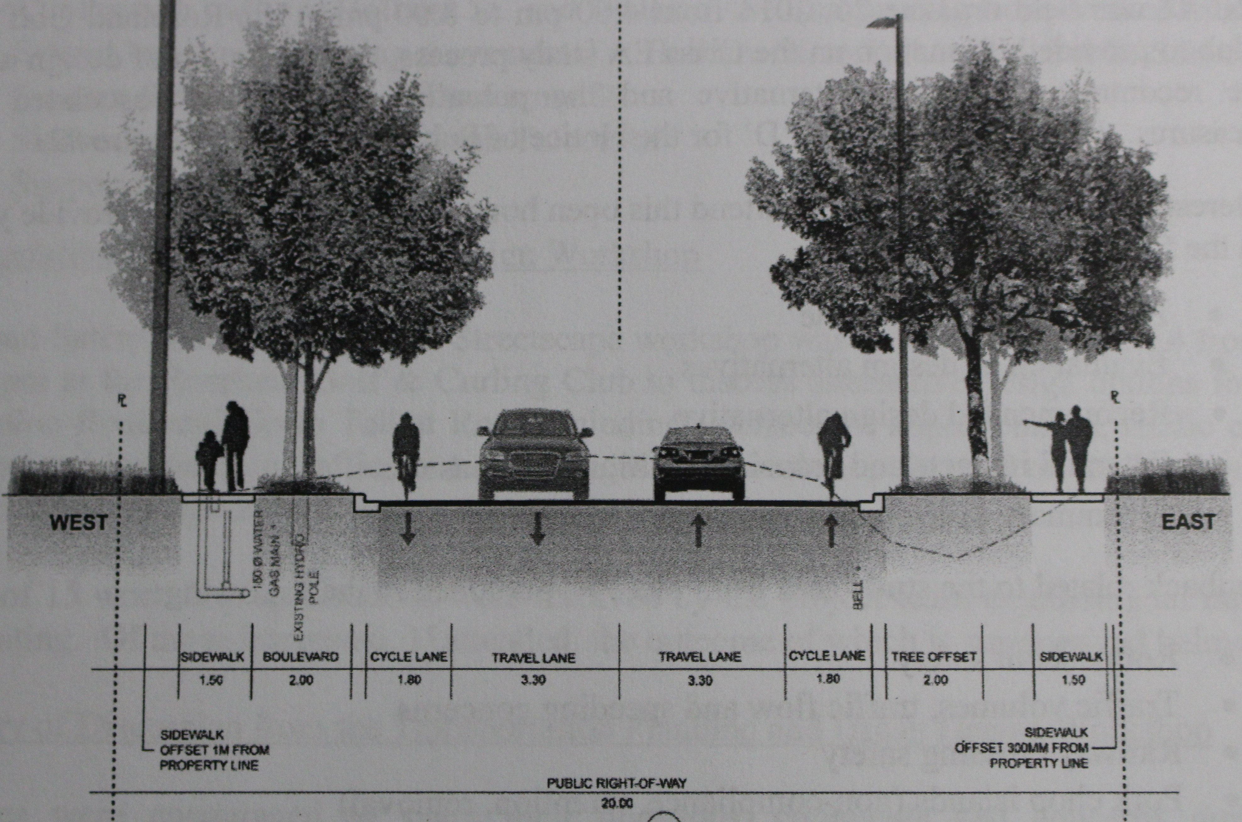 Drawing of proposed bike lanes, tree and sidewalk for Concession Rd. 6 and North Talbot Rd. in Windsor, June 1, 2015. (Photo by Mike Vlasveld)