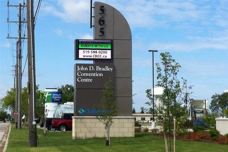 Sign outside the John D. Bradley Convention Centre in Chatham. (File Photo by Dave Richie)
