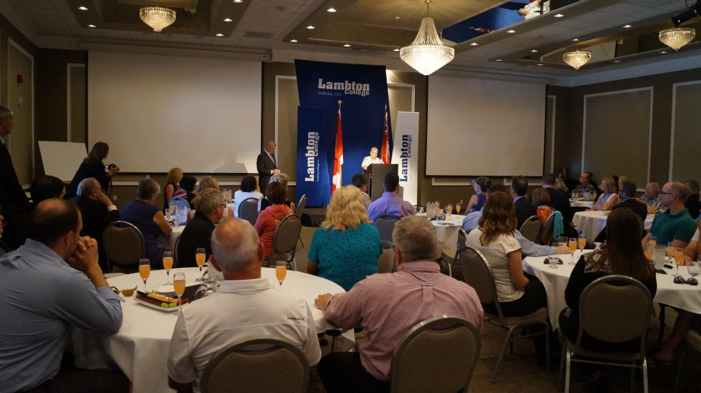 Large crowd gathers for the Lambton College announcement at the college's event centre. June 24, 2015 (BlackburnNews.com Photo by Briana Carnegie)