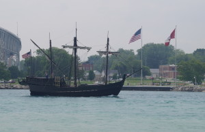 Columbus replica ships pass underneath the Blue Water Bridge June 30, 2015 (BlackburnNews.com Photo by Briana Carnegie)