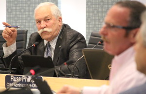 Essex mayor Ron McDermott, left, and councillor Randy Voakes, June 1, 2015. (Photo by Jason Viau)