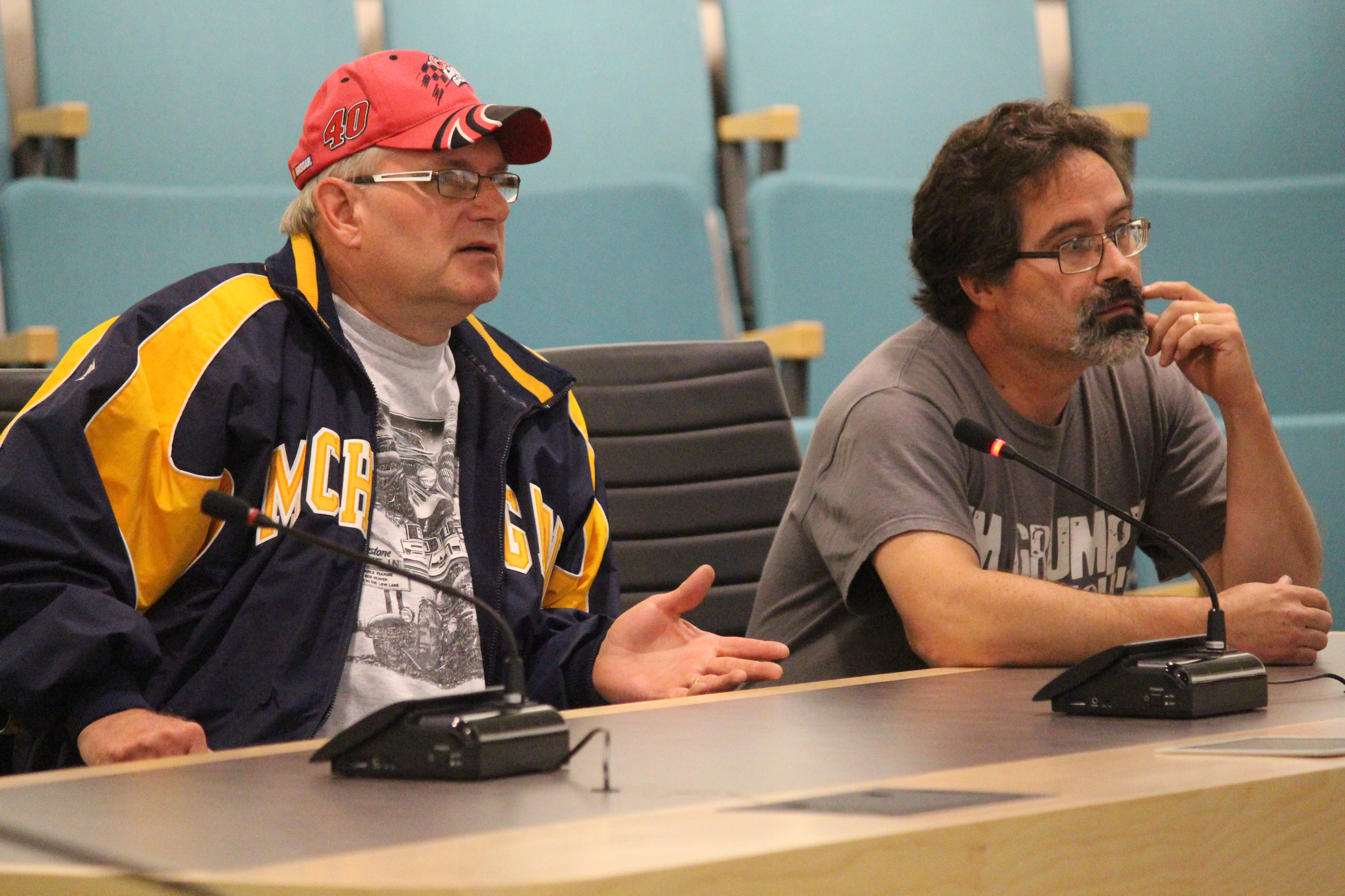Rick Howson, left, and Karl Grymonprez appear before Essex council with flood concerns on Iler Ave., June 1, 2015. (Photo by Jason Viau)
