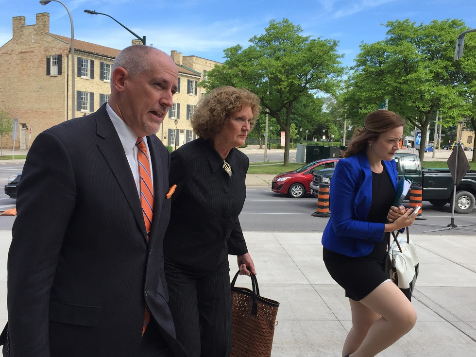 Ruth Burger arrives at the London court house with her lawyer, Ron Ellis. Monday, June 1, 2015. Photo by Ashton Patis