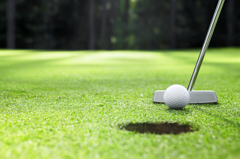 Ball at the hole on a golf course. © Can Stock Photo Inc. / Deklofenak