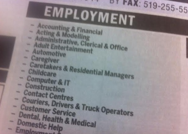 Classified help wanted ads. (Photo by Adelle Loiselle)
