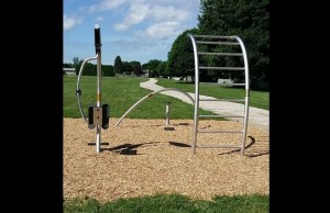 One of nine fitness stations installed along the fitness trail behind Tecumseh Public School in Chatham. (Photo by Jake Kislinsky)