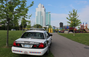 Windsor police at the scene of an alleged sexual assault on Riverside Dr. E June 29, 2015. (Photo by Adelle Loiselle)