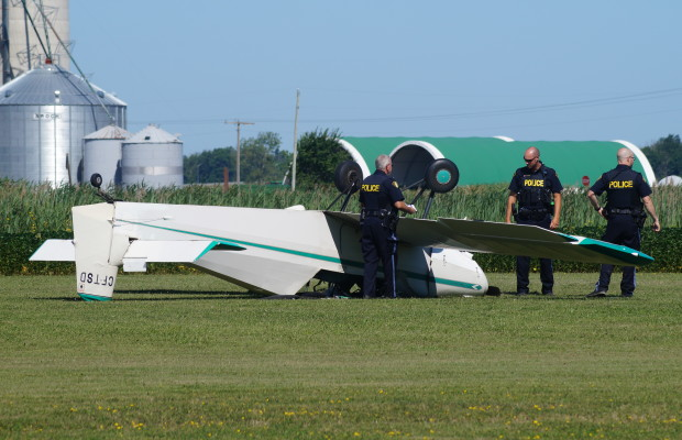 OPP at Skyview Airport for small plane crash July 31, 2015 (BlackburnNews.com Photo by Briana Carnegie)