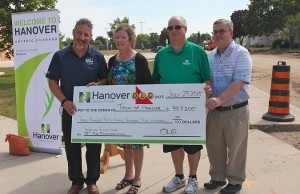 Hanover officials receive a cheque for $357,200 from OLG for the 13th Street reconstruction project. (photo submitted)