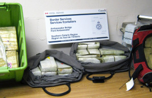 The Canadian Border Services Agency seized 52kg of suspected cocaine at the Ambassador Bridge, July 27, 2015. (Photo courtesy CBSA)