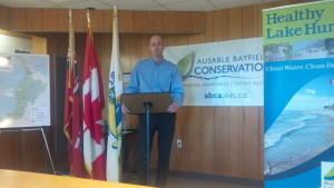 Huron-Bruce M.P. Ben Lobb announcing $105,000 funding for Ausable-Bayfield Conservation Authority (Photo by Bob Montgomery)