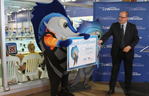 Newly named FINA mascot Splasher is seen Mayor Drew Dilkens on July 14, 2015. (Photo courtesy City of Windsor)
