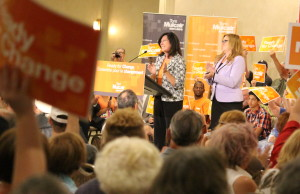 NDP candidates for Essex, Tracey Ramsey (right), and Windsor-Tecumseh, Cheryl Hardcastle (left), attend an NDP rally in Windsor on July 22, 2015. (Photo by Ricardo Veneza)