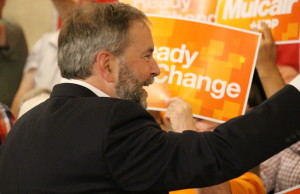 Federal NDP Leader Tom Mulcair stops in Windsor on July 22, 2015. (Photo by Ricardo Veneza)