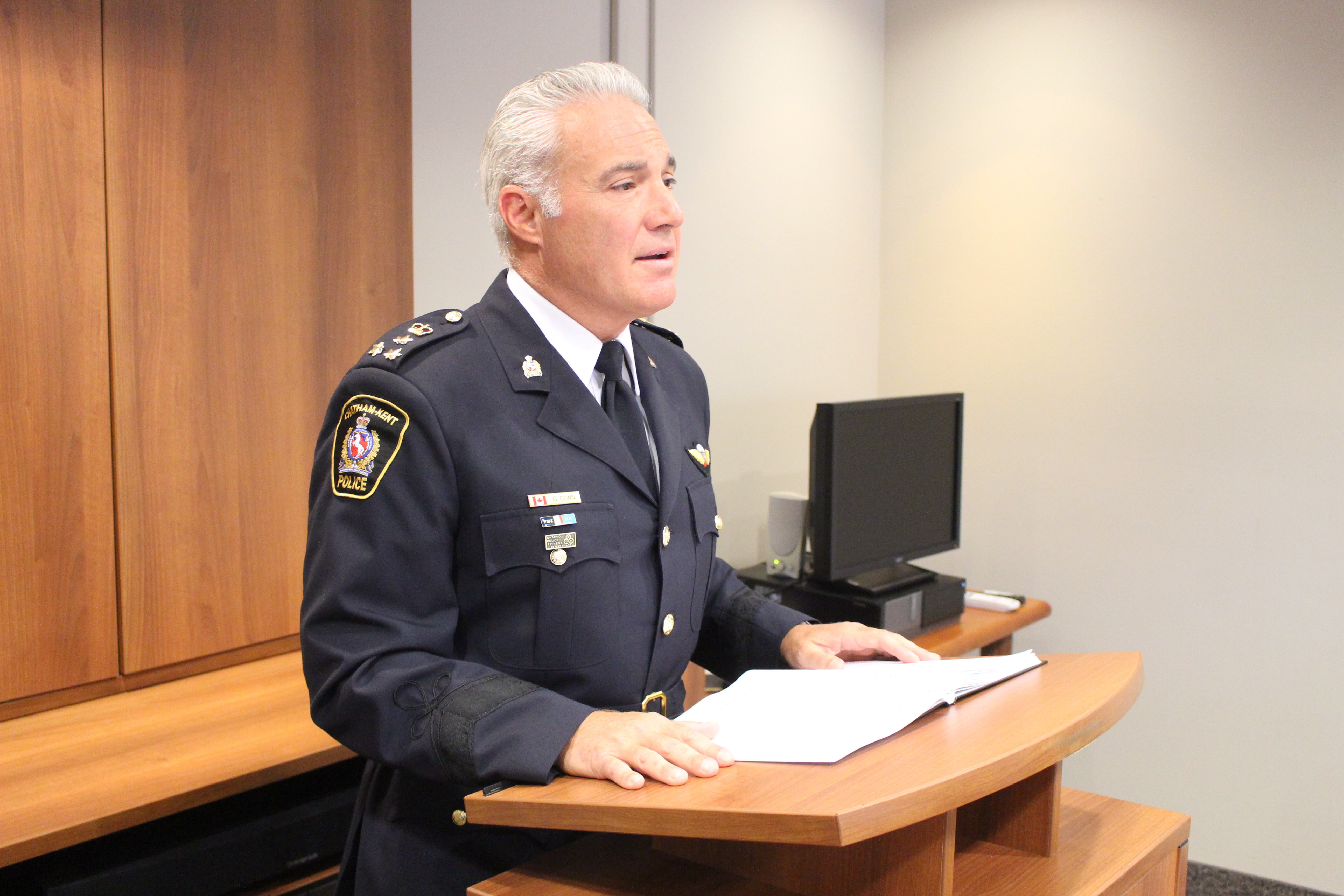 Chatham-Kent Police Chief Gary Conn at police headquarters, July 23, 2015. (Photo by Mike Vlasveld)