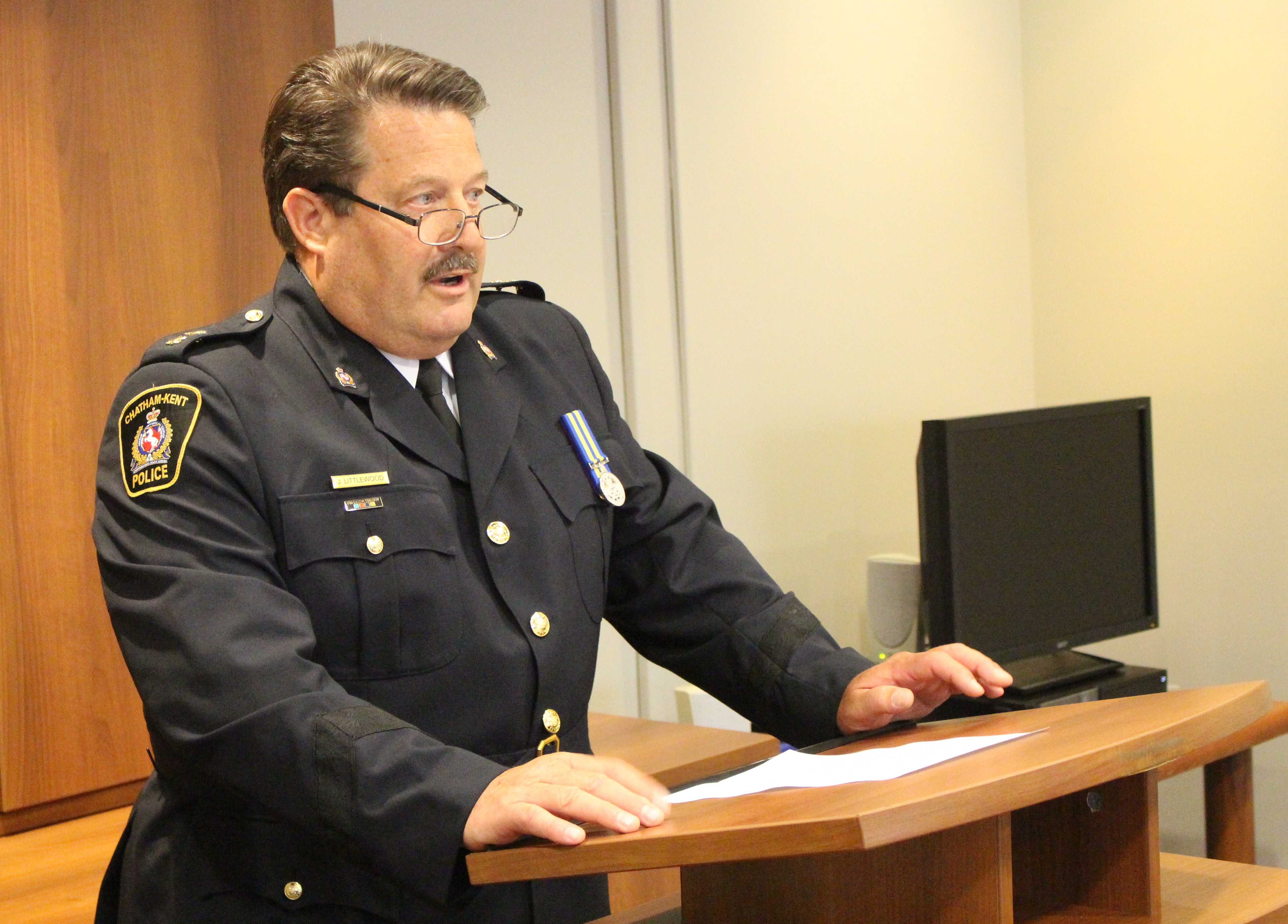 Chatham-Kent Deputy Police Chief Designate Jeff Littlewood at police headquarters, July 23, 2015. (Photo by Mike Vlasveld)