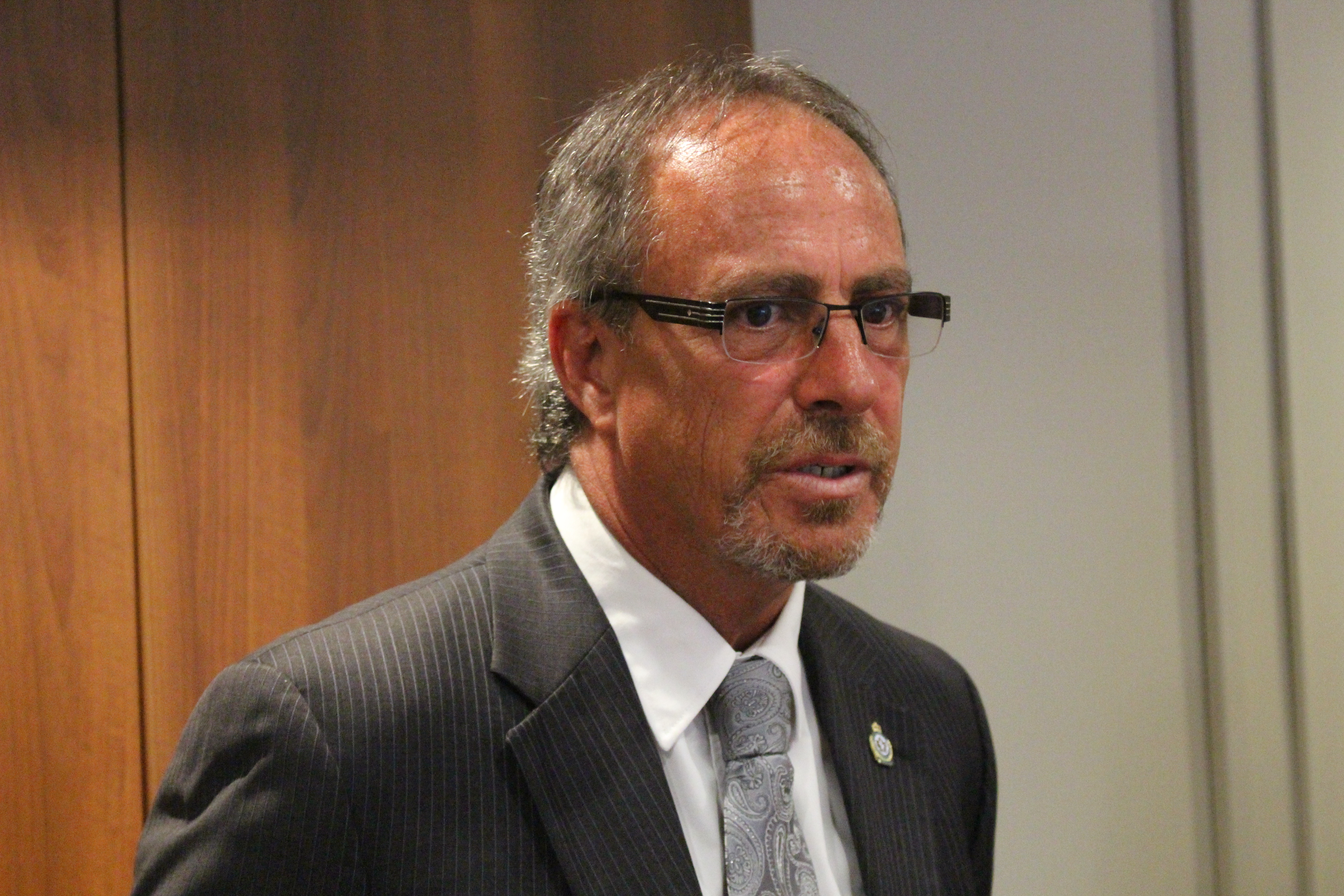 Chatham-Kent Mayor Randy Hope at police headquarters, July 23, 2015. (Photo by Mike Vlasveld)