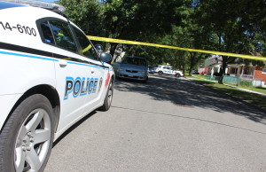 Windsor police on scene of a pedestrian being hit in west Windsor on July 30, 2015. (Photo by Jason Viau)