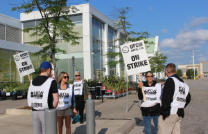 Striking workers picket outside the Real Canadian Superstore on Walker Rd. in Windsor July 2, 2015. (Photo by Adelle Loiselle)