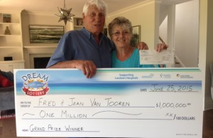 Dream Lottery grand prize winners, Fred and Jean Van Tooren, July 6, 2015. Photo by Victoria Sartor, BlackburnNews.com.