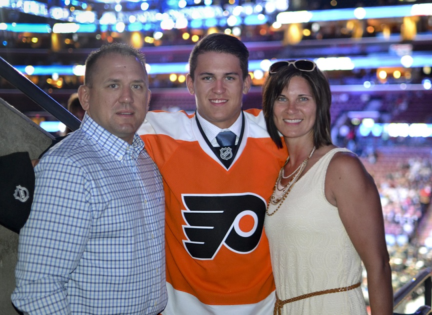 18-year-old Travis Konecny with his parents Rob and Terri at the 2015 NHL draft where he was selected 24th overall by the Philadelphia Flyers. (Photo by Martin Steele)