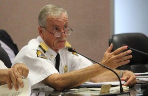 Windsor Fire Chief Bruce Montone speaks to city council, July 27, 2015. (Photo by Mike Vlasveld)