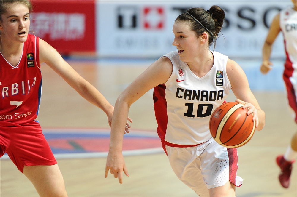 Chatham's Bridget Carleton plays for Team Canada vs. Serbia during the FIBA 19U World Women's Championships in Russia. (Photo courtesy of FIBA.)