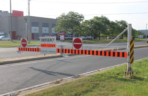 A barrier closing the westbound on-ramp to the E.C. Row at Jefferson Blvd. July 29, 2015. (Photo by Adelle Loiselle)