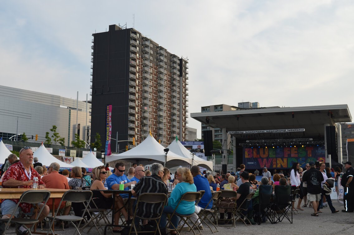 Music performers and music lovers gather at Windsor's Riverfront Festival Plaza for the 21st annual Bluesfest. (Photo by Blackburn Radio's Summer Patrol)