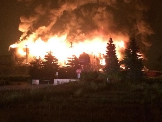 Large Windsor Raceway fire (Photo courtesy LaSalle Police Twitter account)