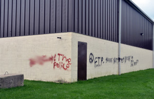 Brooke-Alvinston Community Centre buildings were vandalized over the weekend. August 31st, 2015. (Photo Liana Russwurm via Facebook, BlackburnNews.com responsible for blurring out image)