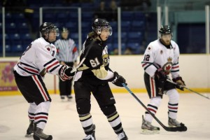 Brendan Harrogate in action for LaSalle Vipers during 2015 playoff game vs. Sarnia Legionnaires (Photo courtesy Kelsey Vermeersch of LaSalleVipers.com)