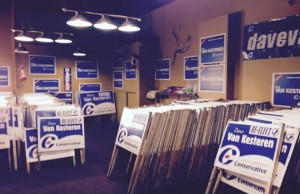 Sign preparation well under way at Incumbent Dave Van Kesteren's Chatham-Kent campaign office. Aug. 17, 2015. (Photo by Simon Crouch)