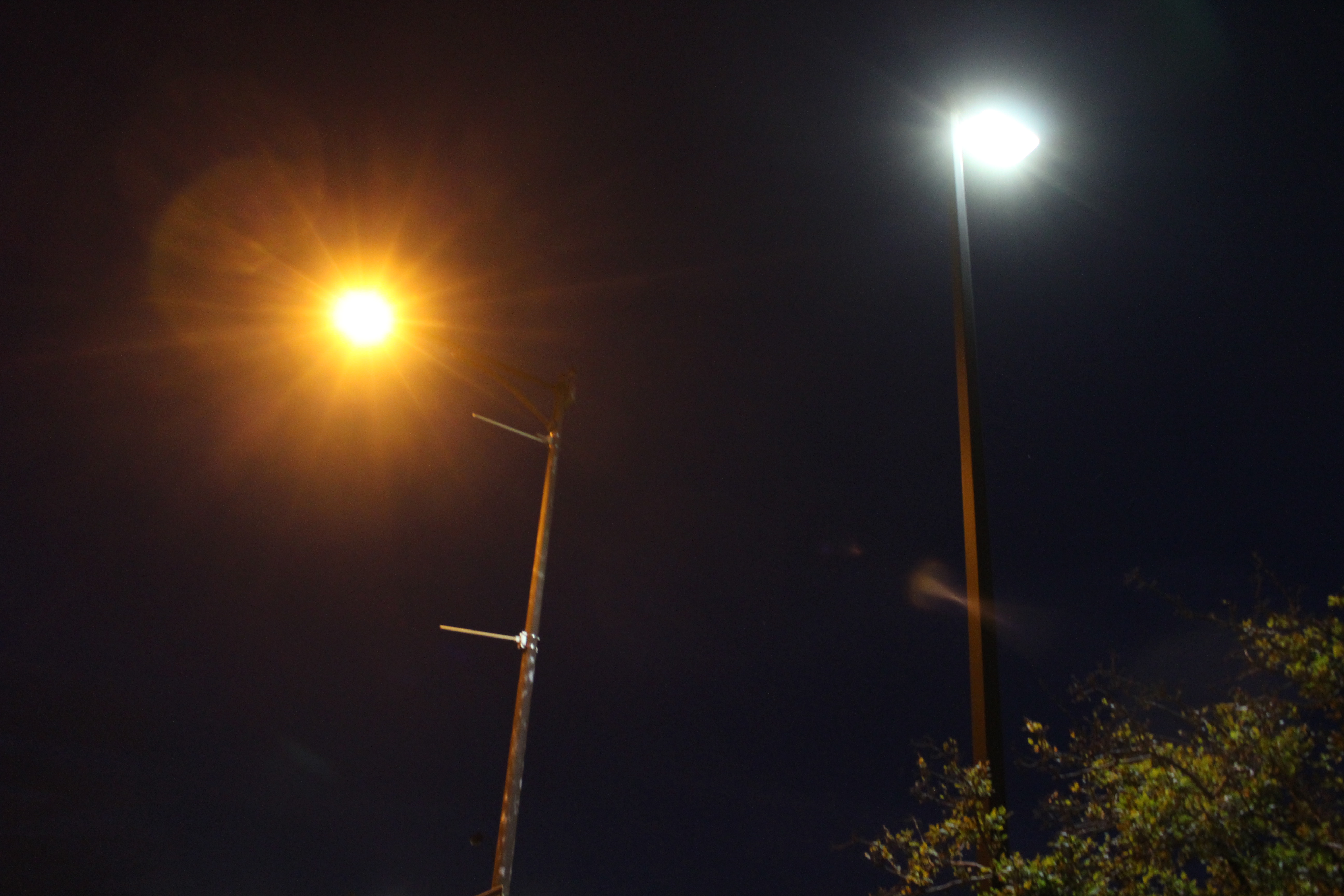 An LED streetlight (right) sits next to a standard HPS streetlight outside of Windsor City Hall on August 4, 2015. (Photo by Ricardo Veneza)